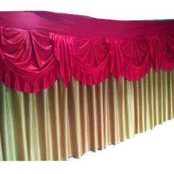 10 FT - Table Cover Frill - Made Of Premium Lycra Quality - Peach & Red Color