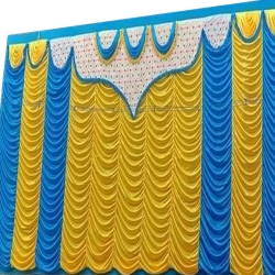 10 FT X 15 FT - Designer Curtain - Parda - Stage Parda - Wedding Curtain - Mandap Parda - Back Ground Curtain - Side Curtain - Brite Lycra - Yellow & Sky Blue Color