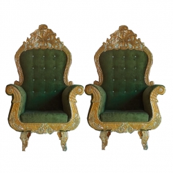 Green Color - Premium Jaipur - Jodhpuri Metals - Heavy - Mandap Chair - Wedding Chair - Varmala Chair Set - Chair Set - Made Of Wooden & Metal - 1 Pair ( 2 Chair )
