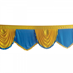 24 FT - Designer Zalar - Scallop Zalar - Kantha - Jhalar - Made Of Lycra - Firozi Blue & Yellow Colour