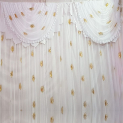 11 FT X 15 FT - Designer Curtain - Parda - Stage Parda - Wedding Curtain - Mandap Parda - Back Ground Curtain - Side Curtain - Made Of 24 Gauge Brite Lycra - White Color
