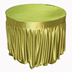 4 FT X 4 FT - Round Table Cover - Table Top Taiwan &  Jhalar Brite Lycra Cloth - Light Green Color