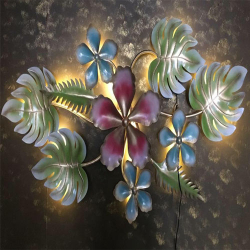 29 Inch - Leaf Flower - With LED Light - Wall Decorative - Wall Frame - Made Of Metal