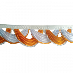 18 FT - Designer Jhalar - Scallop Jhalar - Chain Scallop Jhalar - Kantha - Jhalar - Made Of Lycra - Mango Gold & White Color
