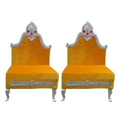 Yellow Color - Mandap Chair - Wedding Chair - Varmala Chair - Made Of High Quality Wood & Matel 1 Pair ( 2 Chair )