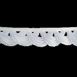15 FT - Designer Zalar - Scallop Zalar - Chain Scallop Zalar - Kantha - Jhalar - Made of Lycra - White Colour