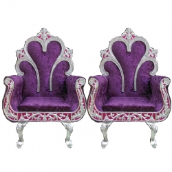 Purple Color - Heavy Premium Metal Jaipuri Chair - Wedding Chair - Varmala Chair - Made of High Quality Metal & Wooden - 1 Pair ( 2 Chair )