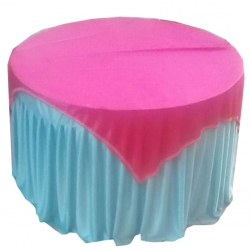 4 FT X 4 FT - Round Table Cover - Made of Premium Quality 26 Gauge Brite Lycra - Pink White