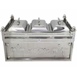 Silver 3 IN 1 - Chafing Dish - Chafing Dish - Hot Pot - Made Of Stainless Steel