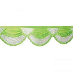 24 FT -Designer Zalar - Scallop Zalar - Chain Scallop Zalar - Kantha - Jhalar - Made Of Lycra - Parrot Green & White Colour