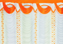 12 Ft X 15 Ft - Designer Curtain - Parda - Stage Parda - Wedding Curtain - Mandap Parda - Background Curtain - Side Curtain - Made Of Bright Lycra - Multi Color - White + Orange - Festoon