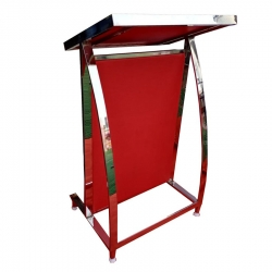 4 FT - Podium - Presentation Dias Made of Stainless Steel - Red Color