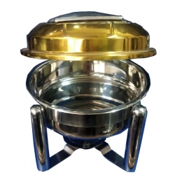 7 LTR - Chafing Dish - Hot Pot Dish - Garam Set Hydraulic  - Made Of Stainless Steel & Brass