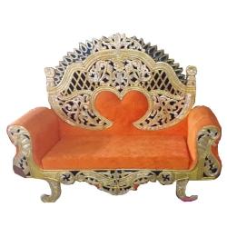 Orange Color - Premium Jaipur - Jodhpuri Metals - Heavy - Couches - Sofa - Wedding Sofa - Wedding Couches - Made Of Wooden & Metal
