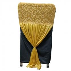 Velvet Flower Chair Cover Bow For Wedding Function - Golden Color