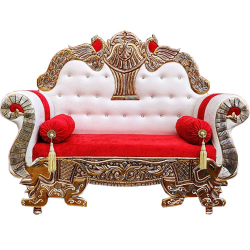 Red and White - Heavy Premium Metal Jaipur Couches - Sofa - Wedding Sofa - Wedding Couches - Made Of High Quality Metal & Wooden