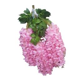 2 FT - Plastic Artificial Flower - Latkan - Flower Decoration - Off Pink Color (1 Packet - 12 Piece Leaf )