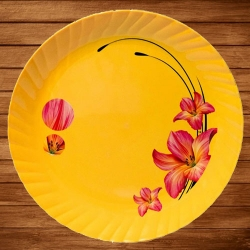 11 Inch - Dinner Plates - Made Of Food-Grade Regular Plastic Material - Leher Round Shape - Printed Plate