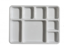 11 Inch X 15 Inch - 8 Compartment  Plate - Made of Food Grade Acrylic - Square Shape - White Color