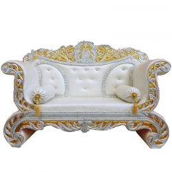 White Color - Udaipur - Rajasthani - Heavy - Premium - Couches - Sofa - Wedding Sofa - Wedding Couches - Made Of Wooden & Metal.