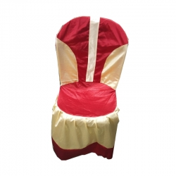 Crush Cloth Chair Cover With Piping  Red & Golden.