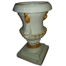 2.6 FT - Artificial Fancy Fiber Glass Flower Pot - Fiber Kundi - White Color