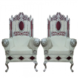 White Color - Heavy Metal Premium Jaipuri Varmala Chair - Wedding Chair - Chair Set - Made Of Metal & Wooden - 1 Pair ( 2 Chair )