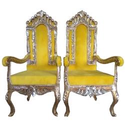 Yellow Color - Heavy Metal Premium Jaipuri Varmala Chair - Wedding Chair - Chair Set - Made of Metal & Wooden - 1 Pair ( 2 Chair )
