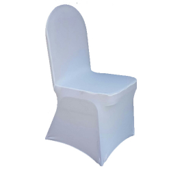 Chair Frill Cover -  Imported - Elastic - White Color - Made of Brite Lycra