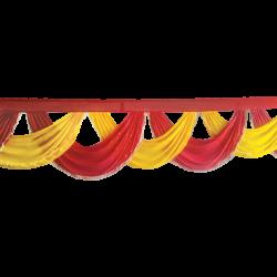 18 FT - Designer Jhalar - Scallop Jhalar - Chain Scallop Jhalar - Kantha - Jhalar - Made Of Lycra With Tipki - Red & Yellow Color