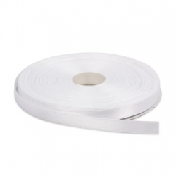 White Double Faced Nylon Satin Ribbon 1 inch 50 Meters - White Color