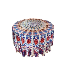 9 FT X 9 FT - 3D Round Table Rumal - Made of Premium Quality Chandni Cloth - Multi Color