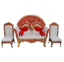 White Color - Heavy Premium Jaipur Couches - Sofa - Wedding Sofa - Wedding Couches - Made Of High Quality Metal & Wooden - 1 Sofa & 1 Pair Of Chair ( 2 Chair )