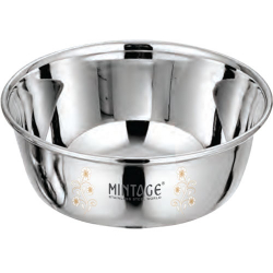 6 Inch - Bowl Vinod - Laser Bowl - Mirror Finish - Made Of Stainless Steel - Set Of 6