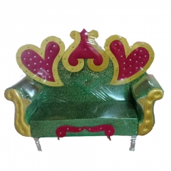 Green & Red Color - Regular - Couches - Sofa - Wedding Sofa - Maharaja Sofa - Wedding Couches - Made Of Wooden & Metal.