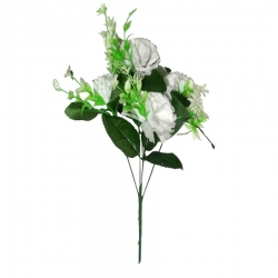 13 Inch - Artificial Flower Bunches - Fake Flowers Artificial Plant For Wedding - Reception - Home Decor - White Color .