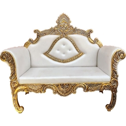 White & Golden  Color - Heavy Premium Metal Jaipur Couches - Sofa - Wedding Sofa - Wedding Couches - Made Of High Quality Metal & Wooden