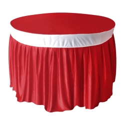 4 FT x 4 FT - Round Table Cover - Made of Premium Quality Lycra Cloth - Red & White Color