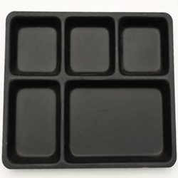 13 Inch X 10 Inch - 5 Compartment Plate - Made Of Food - Grade Regular Acrylic - Square Shape - Black Color