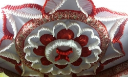 15 ft x 15 ft - Designer Mandap Ceiling Cloth -Shamiyana Ceiling - Taiwan Top - 26 Gauge Bright Lycra Cloth - Maroon + White Colour