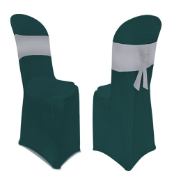 Lycra Cloth - Chair Cover Without Handle - For Plastic Chair - Armless - Bottle Green With Silver Bow Tie