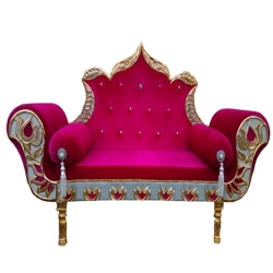 Red Color - Heavy Premium Metal Jaipur Couches - Sofa - Wedding Sofa - Wedding Couches - Made of High Quality Metal & Wooden  .