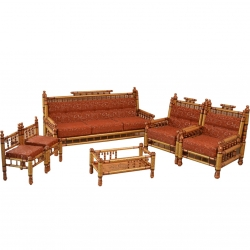 Sankheda Wooden Sofa Set - 3 Seater Sofa - Two Sankheda Chair - Two Small Chair - Center Table without Glass - Made of Teak wood