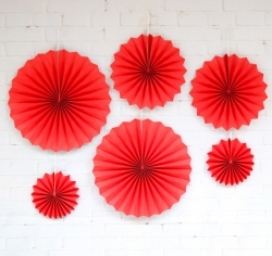 40 CM - 30 CM - 20 CM - Party Decoration Paper Props Fan - Set of 6 (Red) - Birthday - Wedding - Anniversary - Valentine Props