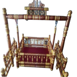 Sankheda Palna - Wooden Cradle - Naming Ceremony Accessory - Light Brown Color