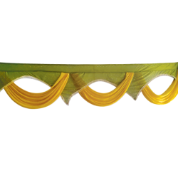 15 FT - Designer Zalar - Scallop Zalar - Kantha - Jhalar - Made of Lycra with Tipki - Sona Gold & Mehendi Green Colour