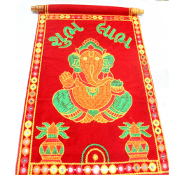10 Inch X 7 Inch - Red Velvet Scroll - Lagan Patrika - Gujarati Marriage Ceremony - Scroll With Emroidery - Rec Color
