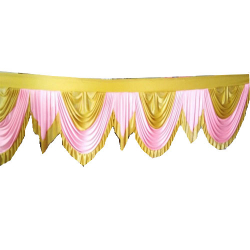 10 FT - Designer Zalar - Scallop Zalar - Chain Scallop Zalar - Kantha - Jhalar - Made Of Lycra - Light Pink & Golden  Colour