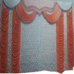 10 FT X 15 FT - Parda - Curtain - Stage Parda - Wedding Curtain - Mandap Parda - Made of 24 Gauge Brite Lycra - Orange & White Color