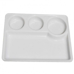 10 Inch X 13 Inch - 4 Compartment Plate - Made of Food Grade Acrylic - White Color